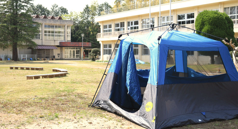 校庭キャンプ場 キャンプの様子